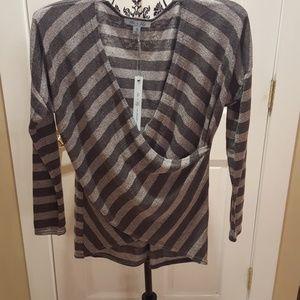 She + sky striped blouse NWT